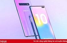 Hình dung Samsung Galaxy Note 10 có 4 camera sau, 2 camera trước và vân tay siêu âm