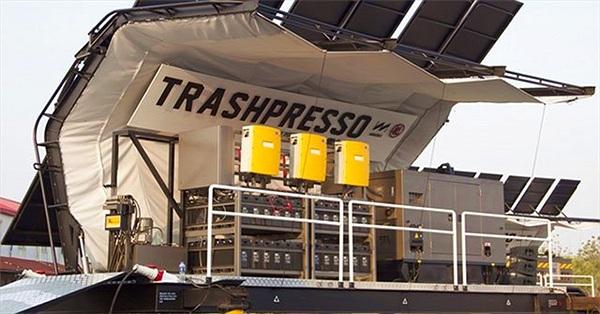 Trashpresso - Cỗ máy tái chế nhựa di động vận hành bằng năng lượng Mặt Trời
