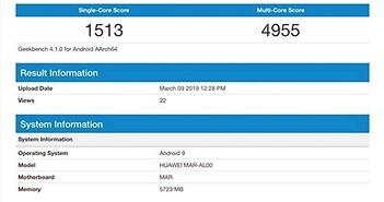 Huawei Nova 4e lộ cấu hình trên Geekbench