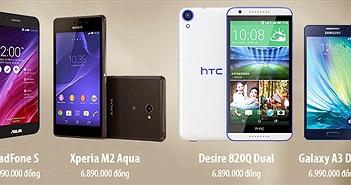 So sánh cấu hình Android giá 7 triệu: PadFone S - Xperia M2 Aqua - Desire 820Q Dual - Galaxy A3 Duos