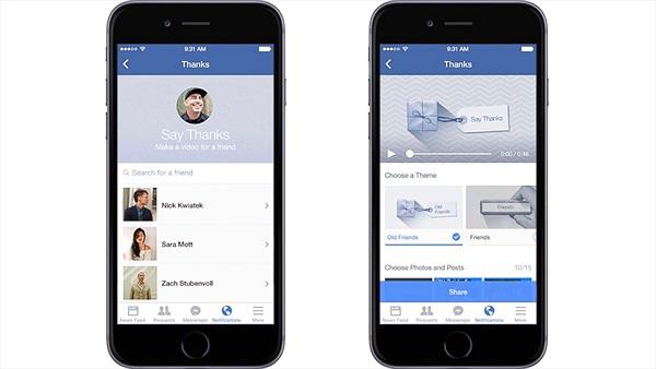 """Facebook ra công cụ tạo video """"Say Thanks"""" tới bạn bè"""