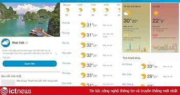 Người dùng có thể theo dõi chất lượng không khí và chỉ số UV ngay trên Zalo
