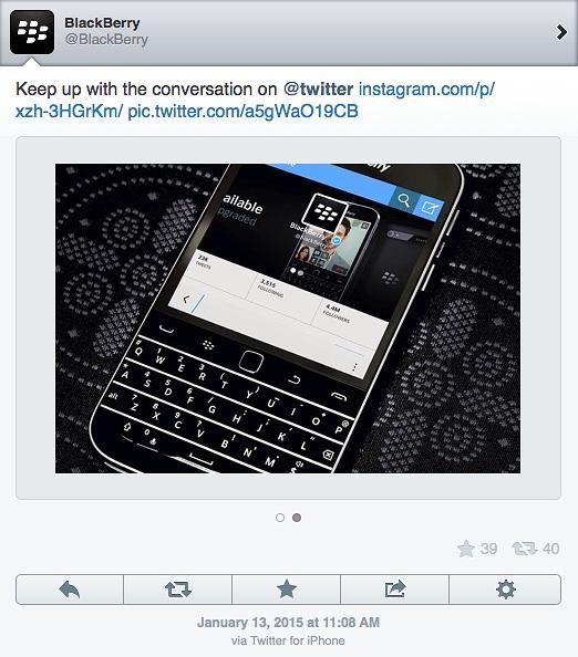 BlackBerry dùng iPhone để đăng tin trên mạng Twitter