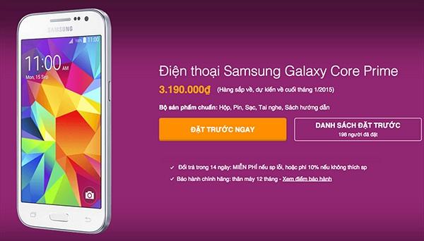 Samsung Galaxy Core Prime sắp lên kệ với giá 3,2 triệu