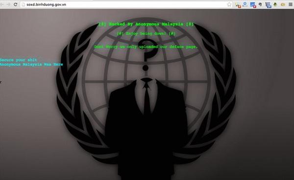 "Hacker Anonymous Malaysia ""hạ gục"" 50 website Việt Nam"