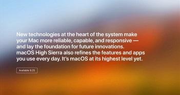MacOS High Sierra 10.13 phát hành ngày 25/9