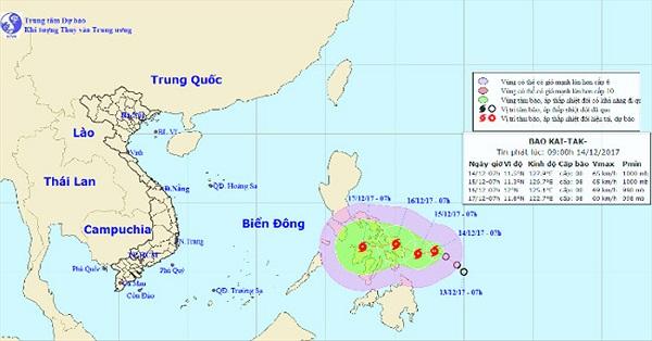Áp thấp nhiệt đới mạnh lên thành bão - cơn bão Kai-Tak
