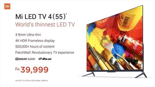 Xiaomi ra mắt Mi LED TV 4 kích thước 55 inch, mỏng 4,9mm, hỗ trợ AI