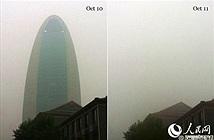 Khói bụi nuốt chửng cao ốc ở Bắc Kinh