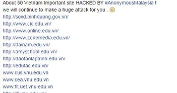Hacker tự xưng Anonymous Malaysia tấn công 50 website của Việt Nam
