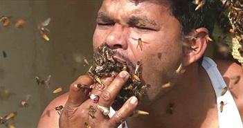 """Hãi hùng người đàn ông """"nhốt"""" ong vào miệng khi lấy mật"""