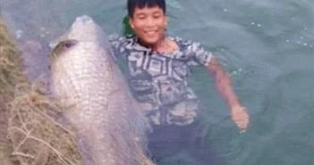 """Cá trắm đen """"khủng"""" 42kg lọt lưới ngư dân Yên Bái"""