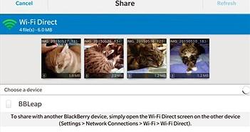 Sử dụng wifi Direct để chuyển tệp tin trên điện thoại BlackBerry
