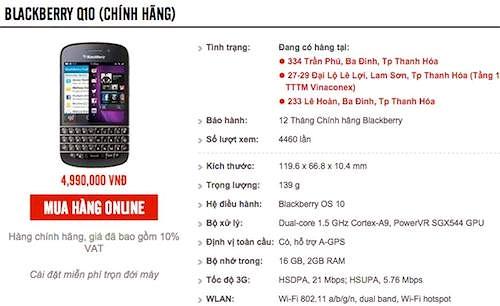 BlackBerry Q10 chính hãng giảm thêm 2 triệu đồng