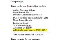 Bị tính phí gần 1200 USD vì lỡ... đọc email trên máy bay