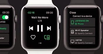 """Ứng dụng nghe nhạc Spotify """"cập bến"""" Apple Watch với trái tim trên màn hình"""