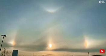 """""""Mặt Trời ma"""" sáng rực trên bầu trời Trung Quốc"""