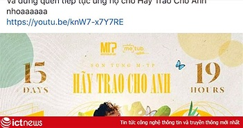 """MV """"Hãy Trao Cho Anh"""" đạt mốc 100 triệu views, Sơn Tùng M-TP vui quá viết caption chúc mừng... """"Em Của Ngày Hôm Qua"""""""