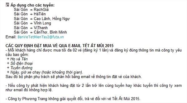 Phương Trang làm khó khách hàng đặt vé xe tết qua email?