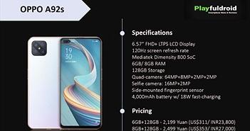 Oppo A92s được liệt kê trên web chính thức: màn hình 120Hz, chip Dimension 800