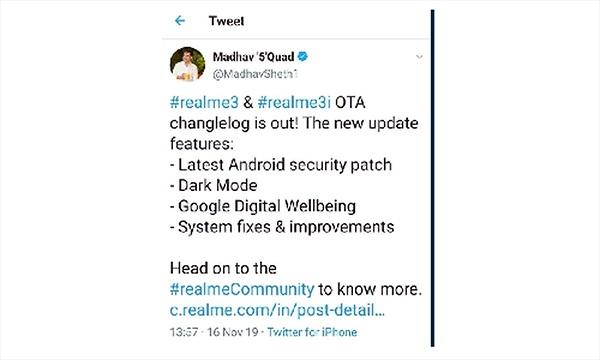 CEO Realme bị phát hiện đăng bài trên Twitter bằng iPhone