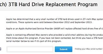 """Apple thay thế ổ cứng cho máy iMac 27"""" ổ 3TB bị lỗi"""