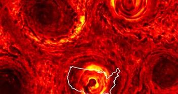 Sửng sốt khối bão lục giác khổng lồ tại cực Nam sao Mộc