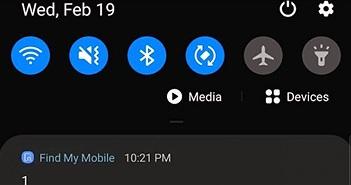 """Find My Mobile trên điện thoại Samsung gửi thông báo lạ """"1 1"""": Đó là gì?"""