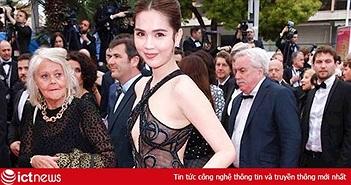 """Cộng đồng mạng """"lên án"""" trang phục xuyên thấu """"gợi dục"""" của Ngọc Trinh tại LHP Cannes"""