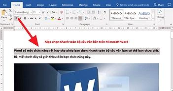 Mẹo chọn nhanh toàn bộ câu văn bản trên Microsoft Word