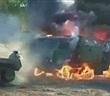 """Hãi hùng xe tải quân sự KAMAZ của Nga chìm trong """"biển lửa"""""""
