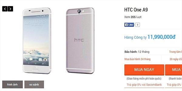 Đừng mơ có HTC One A9 giá rẻ tại thị trường Việt Nam