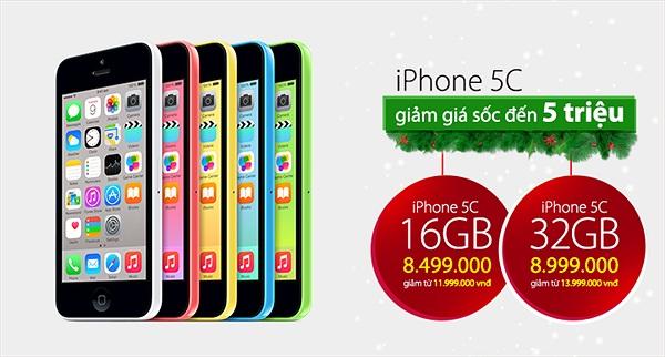 Giá iPhone 5C chính hãng 'giảm sâu' từ 3 đến 5 triệu đồng