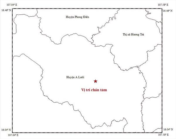 Động đất gây rung lắc nhiều địa phương ở Thừa Thiên Huế
