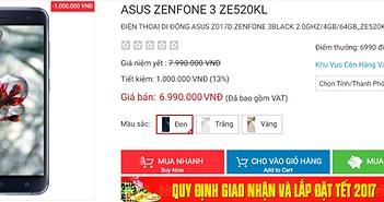 Asus ZenFone 3 giảm giá bán ở thị trường Việt Nam 1 triệu đồng