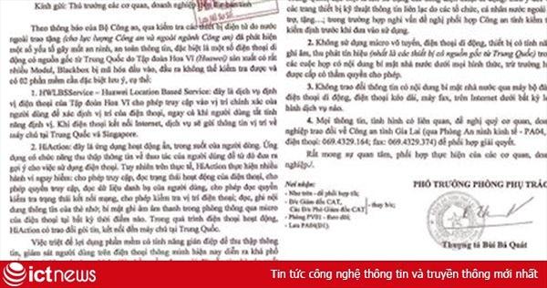 Lan truyền công văn giả mạo Công an Gia Lai cảnh báo về sản phẩm của Huawei