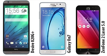 So sánh điện thoại Android giá 4 triệu: Galaxy On7, Desire 820G+, ZenFone 2 Laser...