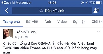 Dụ like fanpage, tặng iPhone, xe của Tổng thống Obama?