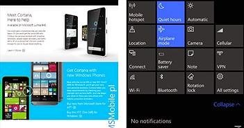 Rò rỉ Windows 10 Mobile (10149): thêm 1 hàng quick setting, thanh địa chỉ của Edge nằm ở dưới