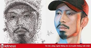 9X Đồng Nai vẽ chân dung Đen Vâu bằng hàng trăm nét chữ