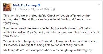 Facebook tạo trang kiểm tra an toàn ngay sau thảm họa động đất tại Nepal