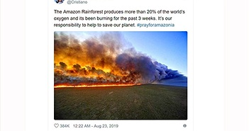 Ronaldo đăng nhầm ảnh cháy rừng Amazon từ 6 năm trước