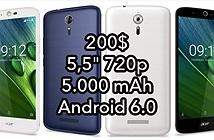 Acer Liquid Zest Plus pin 5,5 pin 5.000 mAh có giá bán chỉ 200$, giảm 50$ so với lúc ra mắt