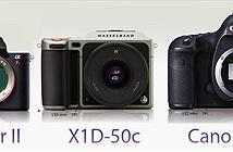 So sánh kích thước thân máy Hasselblad X1D-50c với Pentax 645D, Sony A7r II, Canon 5Ds và Leica SL