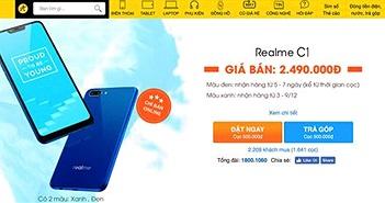 Realme C1 phiên bản màu xanh chính thức bán ra từ ngày 26/11 trên kênh online của TGDĐ và FPT Shop