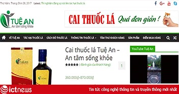 Nước súc miệng cai thuốc lá Lavi, Tuệ An quảng cáo trái phép trên Facebook