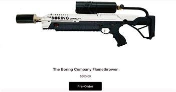 The Boring Company bắt đầu cho đặt trước súng phun lửa, giá bán 500 USD