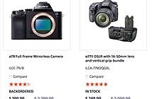 Sony USA đang bán máy ảnh A7R giá 4 triệu đồng và A77 mark II chỉ 8 triệu đồng. Có thể bị hack?