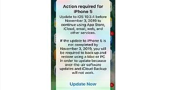 iPhone 5 phải cập nhật iOS 10.3.4 để không thành cục gạch